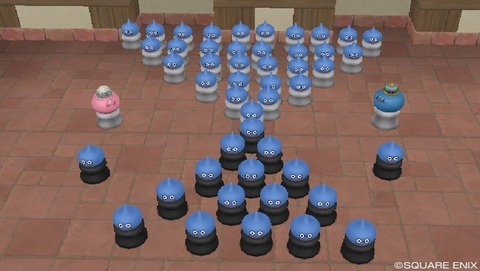 スライムのチェス(レア度S家具)を50個おいてみた